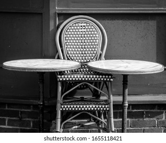 Outdoor Cafe Stacks Table and Chairs, Stil Life Black and White Photography