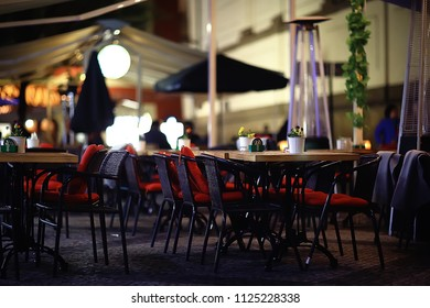 outdoor cafe / table and serving in an outdoor cafe in Paris, France, summer meal outdoors