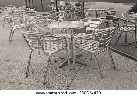 Outdoor Cafe Tables Chairs Window Reflection Stock Photo Edit Now - Small outdoor cafe table and chairs