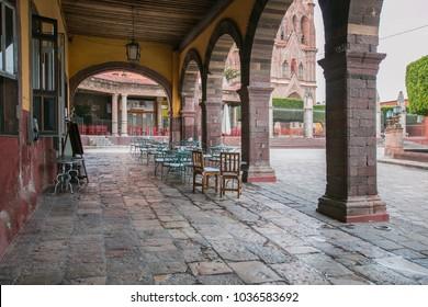 Outdoor cafes in San Miguel de Allende, Mexico