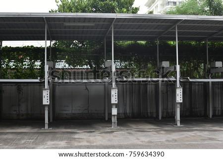 outdoor car parking lift elevator stock photo edit now. Black Bedroom Furniture Sets. Home Design Ideas