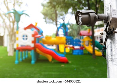 Outdoor CCTV monitoring, security cameras at a playground kid zone at the school.
