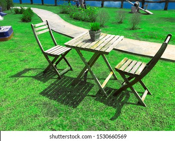 Outdoor chairs and tables in the lawn outside the house with a bright atmosphere in the beautiful nature.