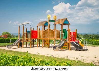 Outdoor children playground in sunny day