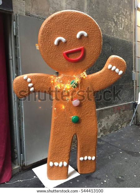 Outdoor Christmas Decorations Giant Gingerbread Man Stock Photo