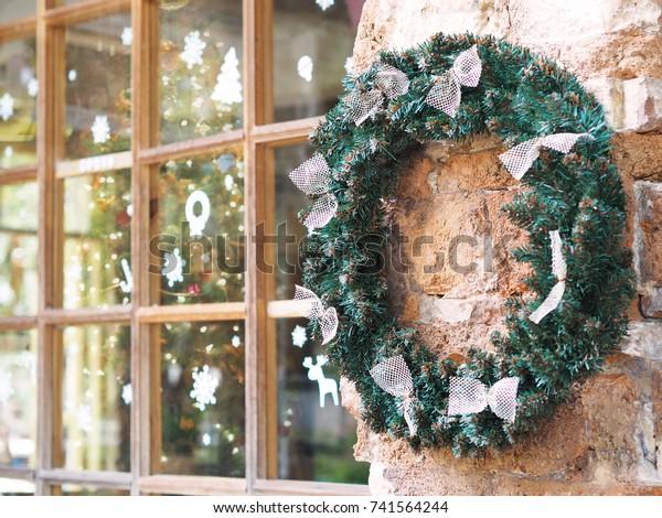 Outdoor Christmas Wreath Bow Ribbon Hang Stock Photo Edit