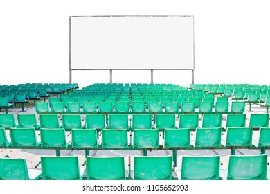 Outdoor cinema with chairs and white projection screen on white background for easy selection