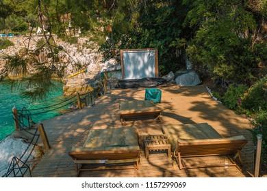 outdoor cinema movie Faralya coast Fethiye Turkey,