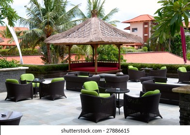 The outdoor coffee bar at resort