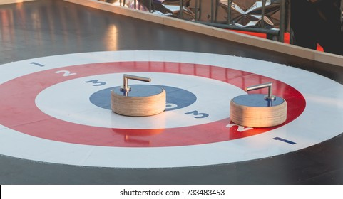 outdoor curling track installed on a Christmas market in France