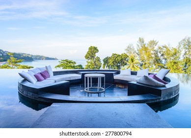 Outdoor deck with pillow sofa