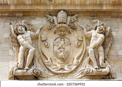 Outdoor decoration of medieval Papal Palace in Avignon city