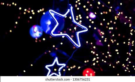 Outdoor decorative lights, neon stars