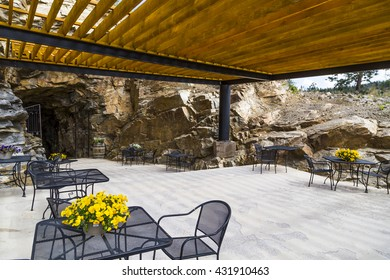 outdoor dining patio area