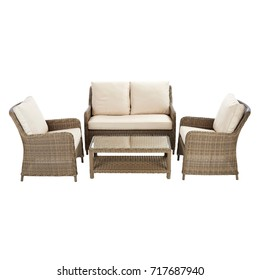 Outdoor Dining Set Isolated on White Background. Patio Rattan Furniture with Cushion Seat. Rattan Patio Dining Set. Wicker Patio Armchairs with Sofa and Table. Wicker Patio Furniture