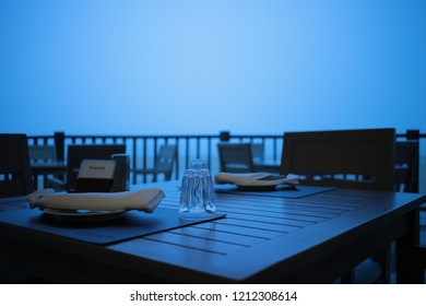 outdoor dinner table in the evening