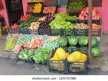 Outdoor Display of Fruits and Vegetables Outside a Shop in Turkey