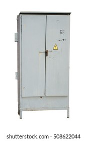 Outdoor electric control grey cabinet with sign electrical hazard isolated on white.
