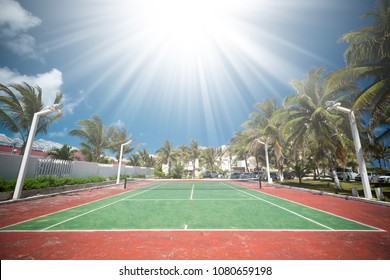 Outdoor empty tennis court at tropical destinations
