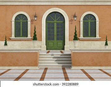 Outdoor entrance of a classic villa with stair, arch door and windows - 3D Rendering