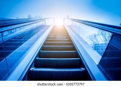 Outdoor escalator in commercial street