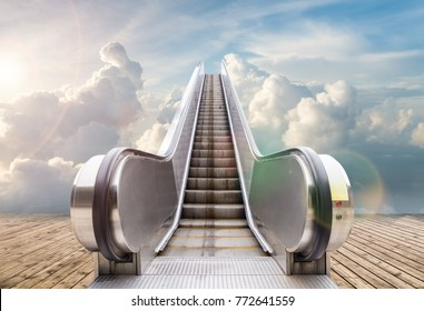 outdoor escalator to the sky , abstract background of rising way to heaven or  success