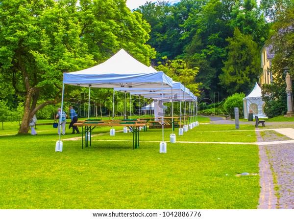outdoor event tents in the garden