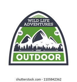 Outdoor expedition vintage isolated badge. Summer camp symbol, mountain and forest explorer, touristic camping label, nature wildlife illustration.