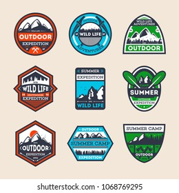 Outdoor expedition vintage isolated label set. Summer camp symbol, mountain and forest explorer, touristic camping badge, nature wildlife logo. People extreme travel activity illustration.