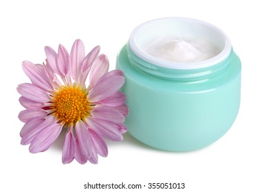 outdoor facial cream with chrysanthemum isolated on white background