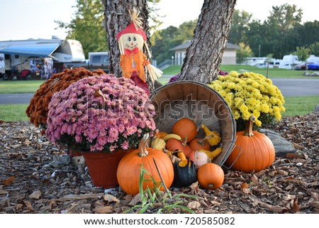 Outdoor Fall Pumpkin Scarecrow Decorations Campground Stock Photo