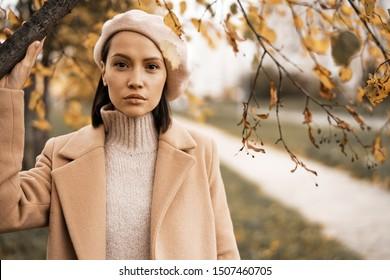 Outdoor-Modefoto von jungen schönen Dame in beigem Mantel, Strickpullover und Beet umgeben Herbstblätter.