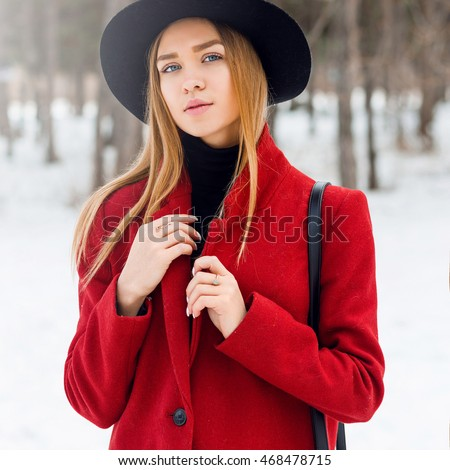 2b57f25e4a5cf Outdoor fashion portrait of glamour l young cheerful stylish lady wearing  trendy winter outfit