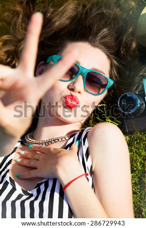 428f876fed9 Outdoor Fashion Portrait Stylish Girl Showing Stock Photo (Edit Now ...