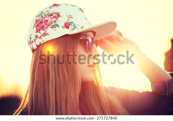 Outdoor Fashion Portrait Stylish Swag Girl Stock Photo Edit