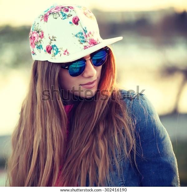 Outdoor Fashion Portrait Stylish Swag Girl Stock Photo (Edit