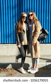 outdoor fashion portrait of a stylish young women in sunglasses