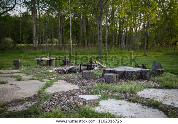 Outdoor Fire Pit Natural Seating Made Stock Photo Edit Now 1102316726