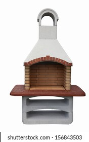 Outdoor fireplace / barbecue grill made from bricks and cement