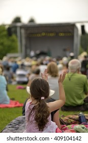 Outdoor free concert on grass in summer
