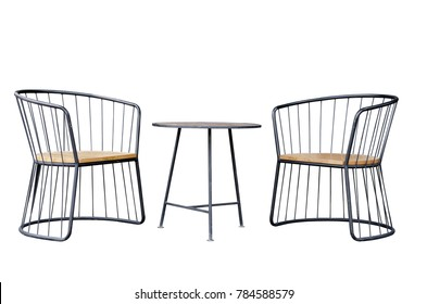 Outdoor furniture coffee set, Black round steel bar structure 2 lounge chairs wooden seat and coffee table wooden top surface industrial loft style isolated on white background