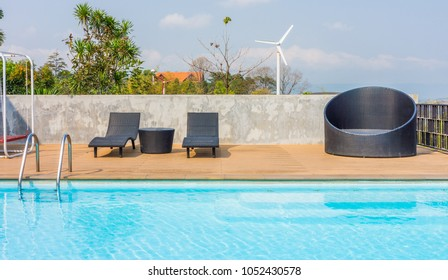 Outdoor furnitures and swimming pool. Facilities for recreation and relaxation.