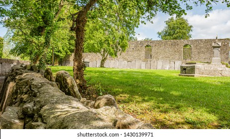 Outdoor garden of the Graveyard Abbey with green grass in the village of Athlone with ornate headstones on the wall in the background, wonderful sunny spring day  in the county of Westmeath, Ireland