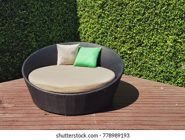 Outdoor garden table with green leaf