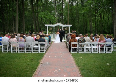 Outdoor garden wedding at a park.