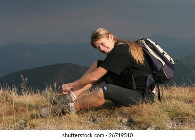 Outdoor girl in the mountain