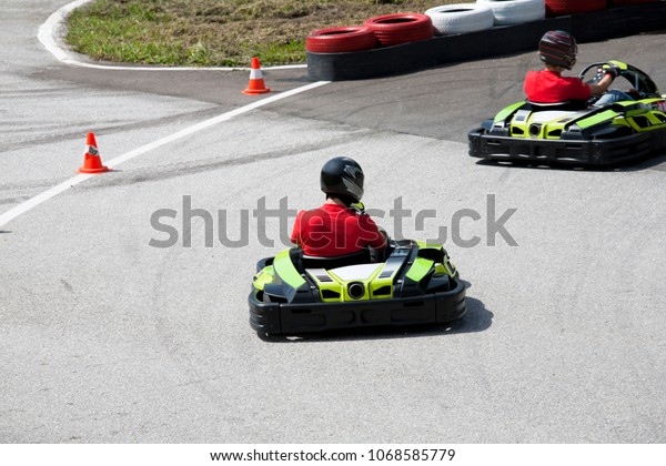 Outdoor Gokart Racing Rear View Male Stock Photo (Edit Now) 1068585779