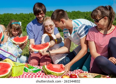 outdoor group portrait of happy company having picnic on green g