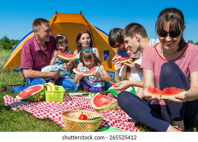 outdoor group portrait of happy company having picnic near the tent in park and enjoying watermelon