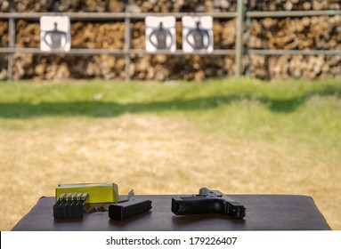 Outdoor gun shooting of target range.